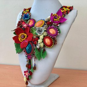 Roses and Mineral Stone Beads Work