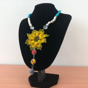 Sun flower Beads Work with Borneo Glass Beads