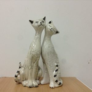 Cat Ceramic Decoration Raku Clear Cracker