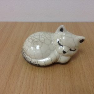 Cat ceramic for decoration Raku Clear cracker