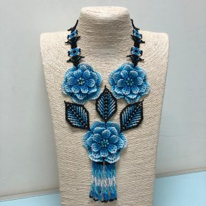 Huichol 3D Flower Necklace (Light Blue/White)