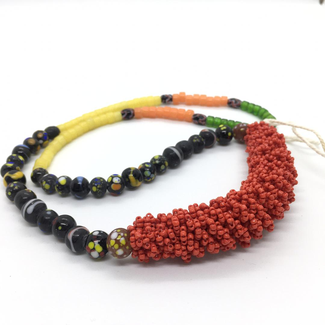 Long Red Kabo Necklace with ceramic Beads