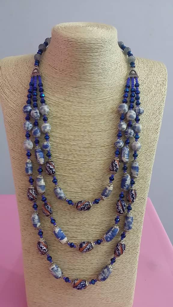 Unique Handmade 3 Layer Ceramic Necklace