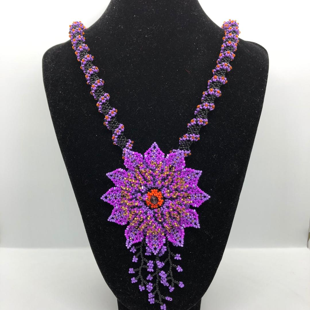 Flower Beads Necklace (Purple)