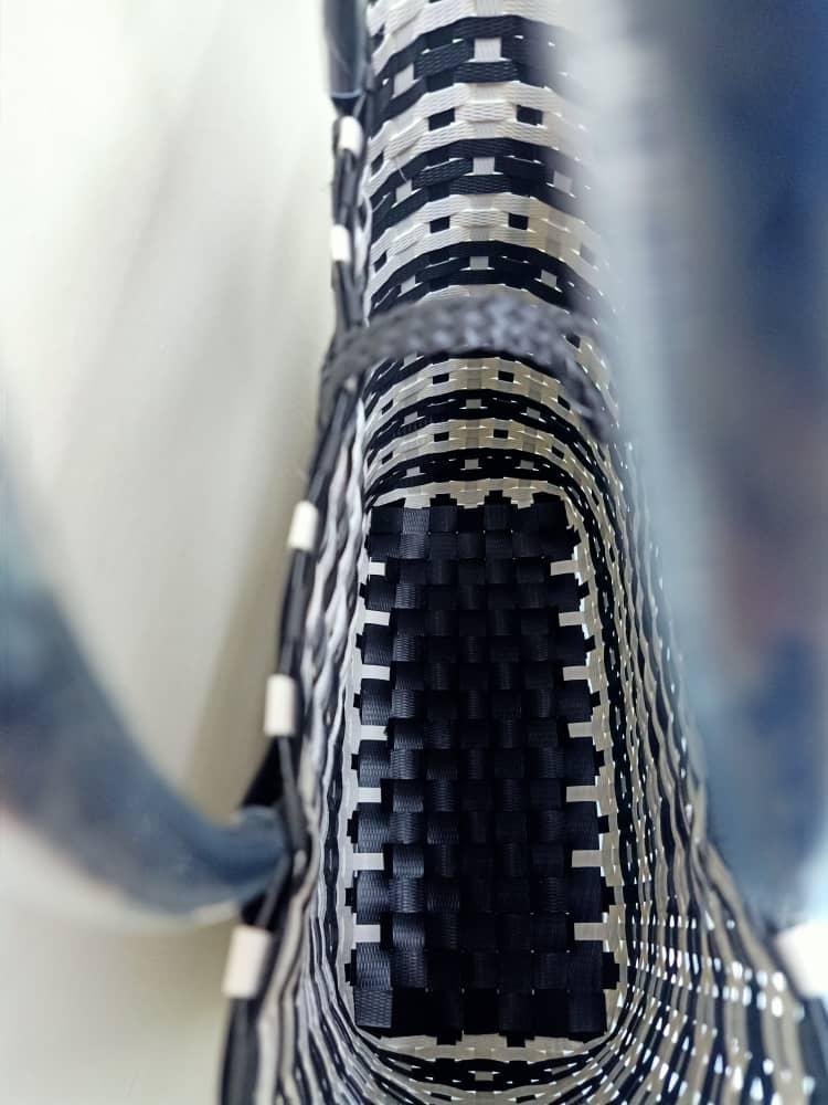 Handwoven penan basket Medium(Black/White)