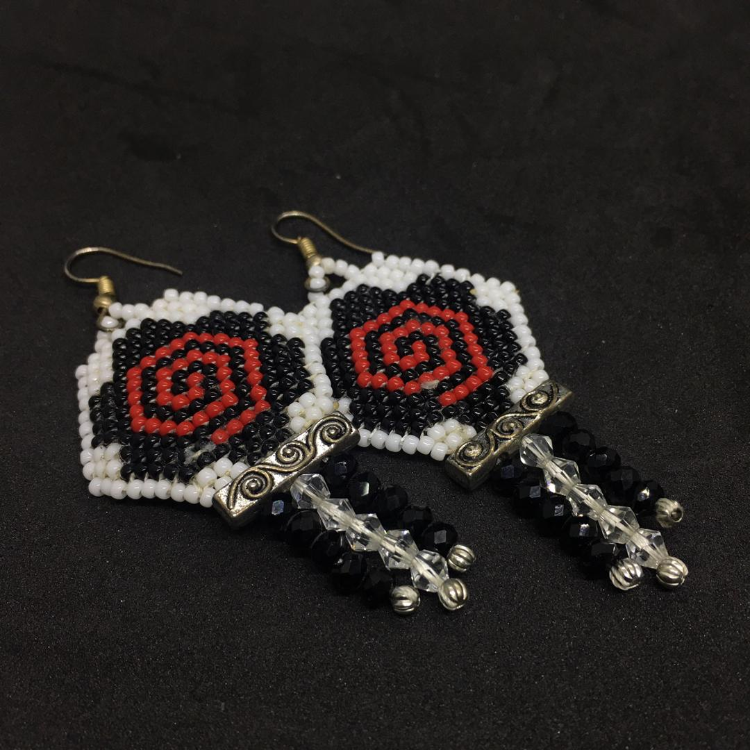 Glass Beads with Crystal Glass Earring