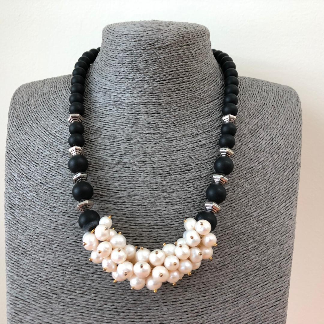 Fresh Water Pearl Grapes Design Necklace with Lava Beads