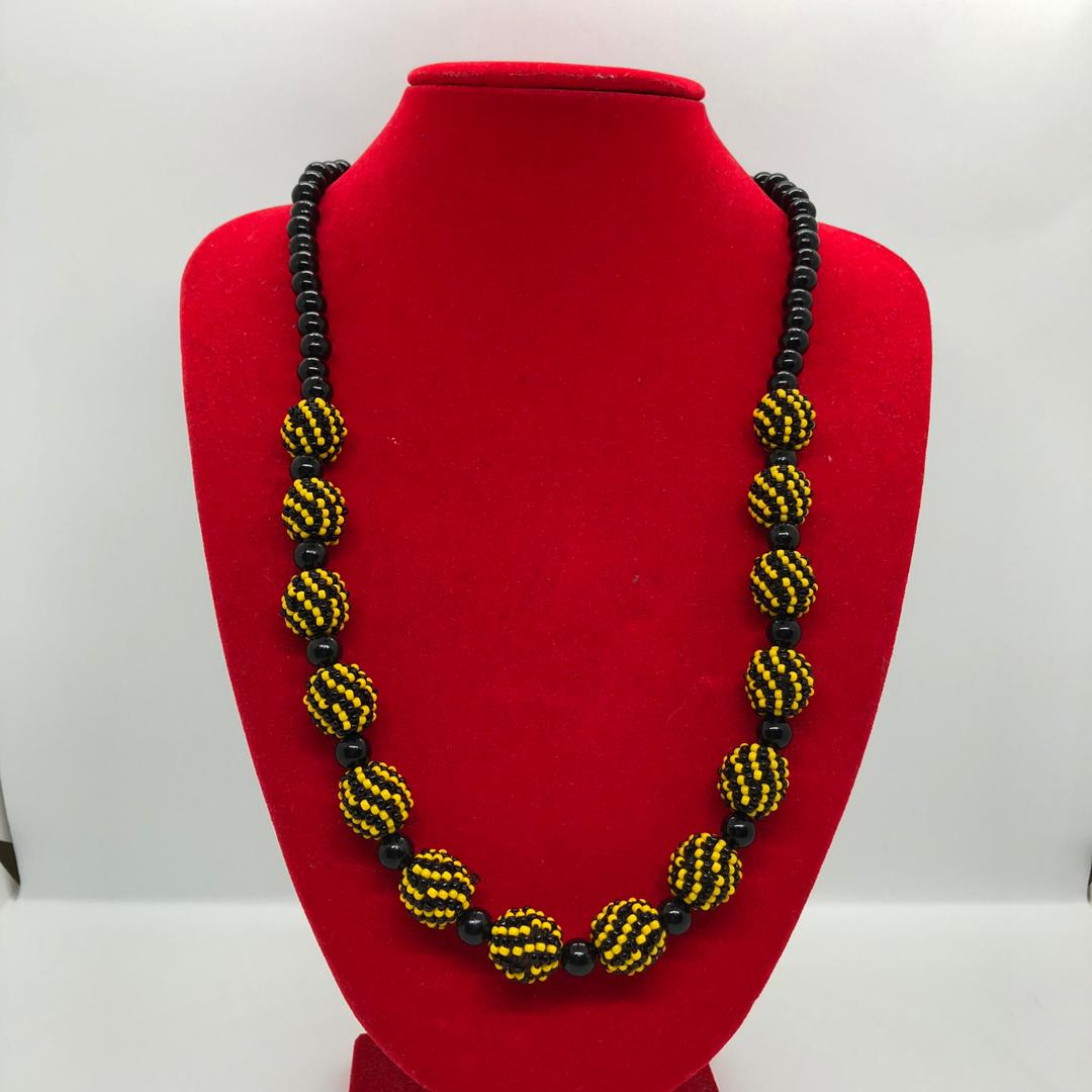 Beads Ball Necklace (Black/Yellow)