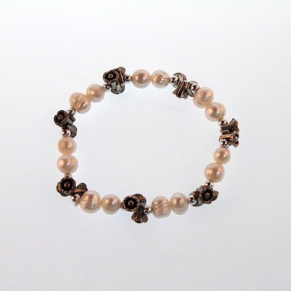 ELEGENT Shell Faux Pearl Stretchable Bead Charm Bracelet
