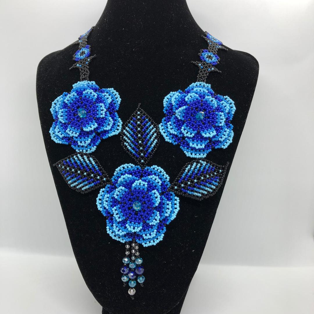 Borneo Handmade Necklace 3D - Rantai Manik (Blue)
