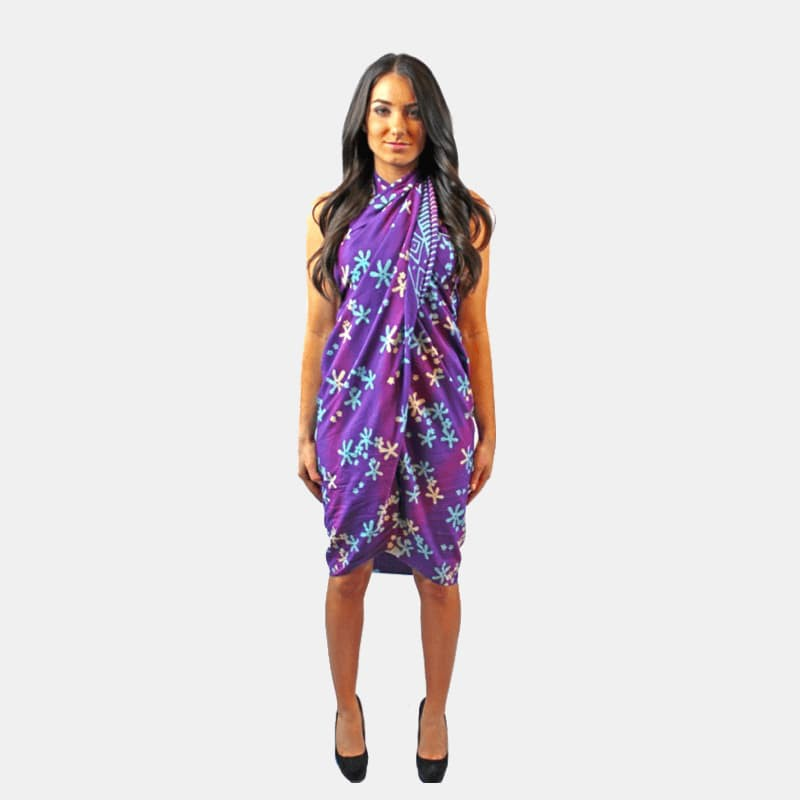 Hand-Painted Scarf / Pareo Dress With Tassles (Purple)