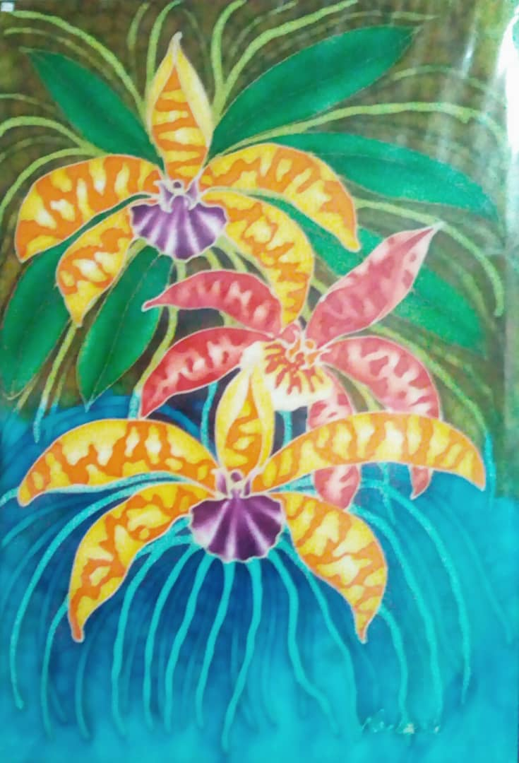 Orchid Silk Painting