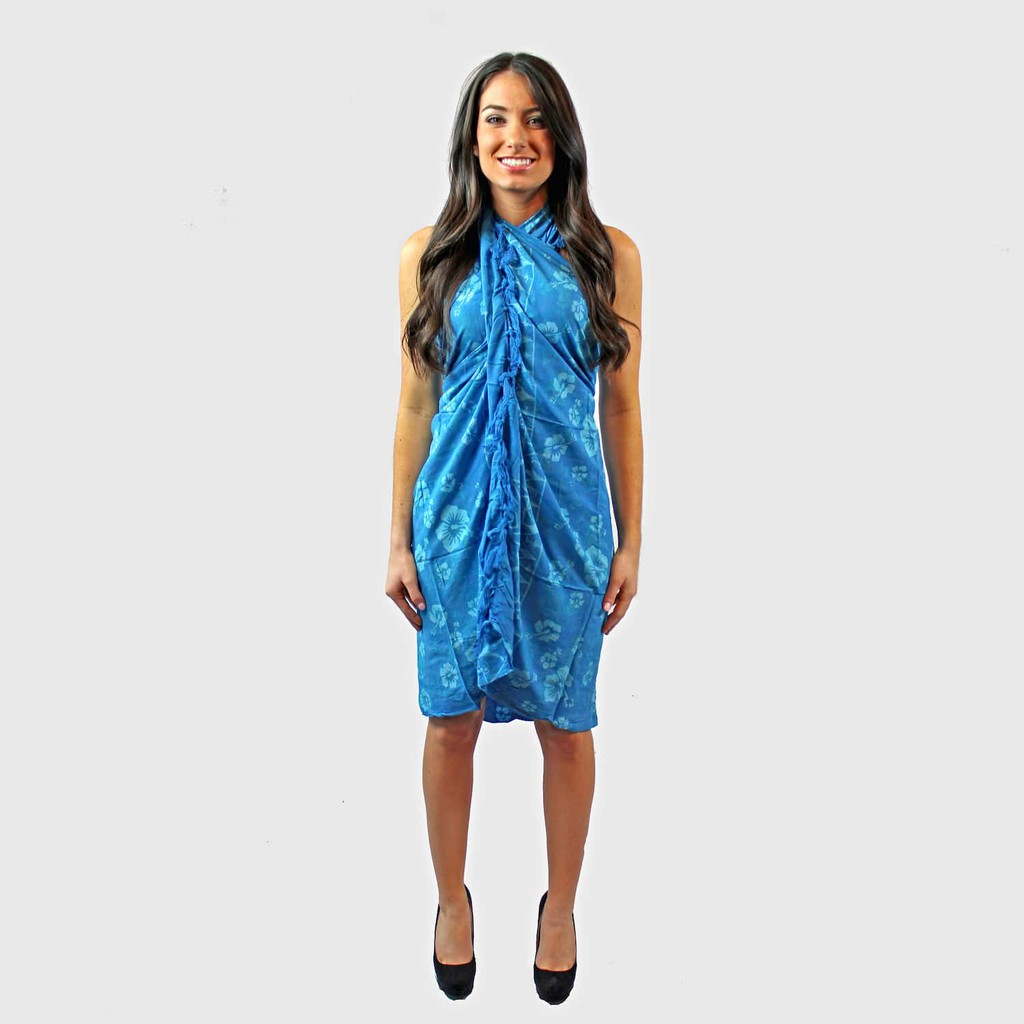 Hand-Painted Scarf / Pareo Dress With Tassles (Light Blue)