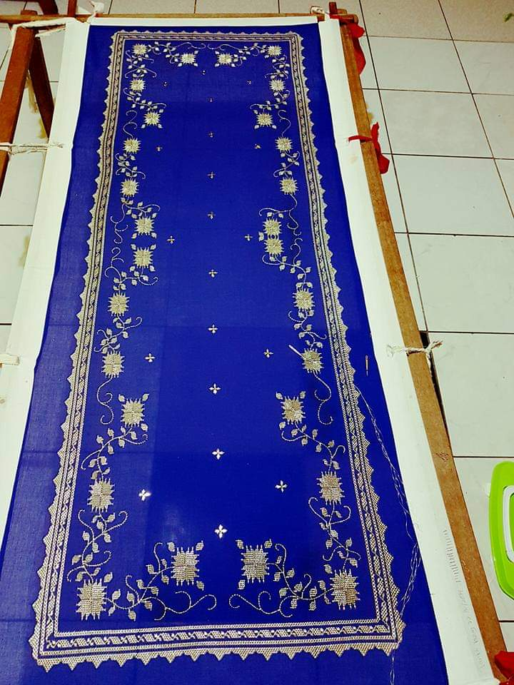 Selendang Sulaman Keringkam (Handmade embroidery scarf with Sarawak pattern and silver sewings)