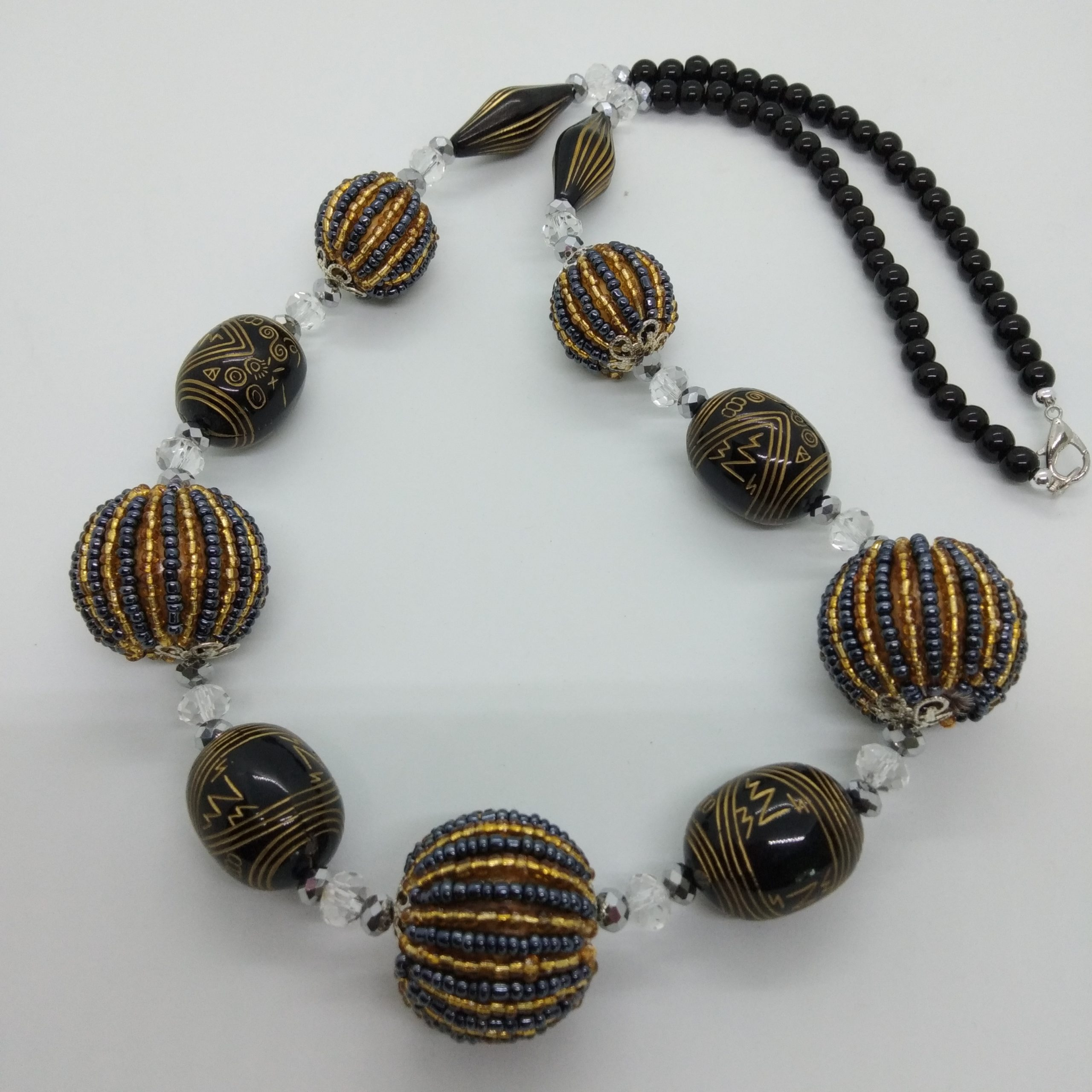 Beads Ball Necklace(Gold & Black)
