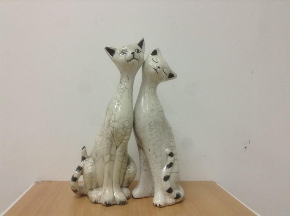 Cat Ceramic Decoration Raku Clear Cracker