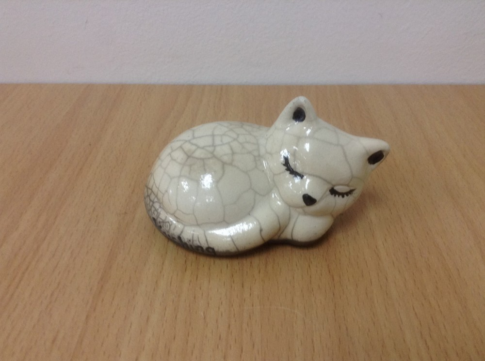 Cat ceramic for decoration Raku Clear cracker