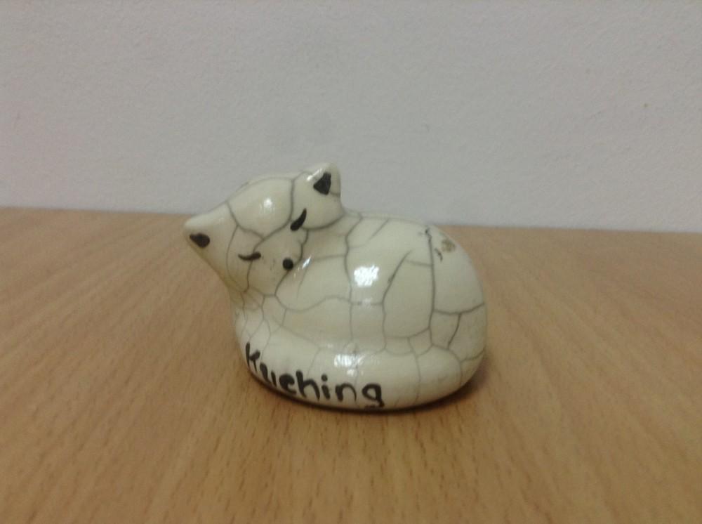 Cat ceramic for decoration Raku