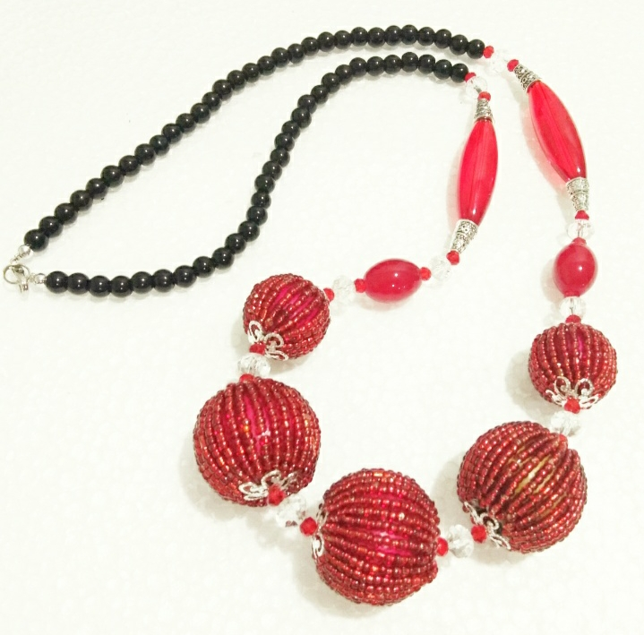 Beads Ball Necklace(Red)