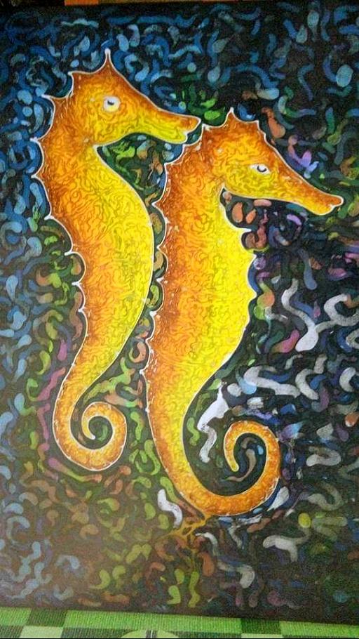 Yellow Seahorse - Batik Painting