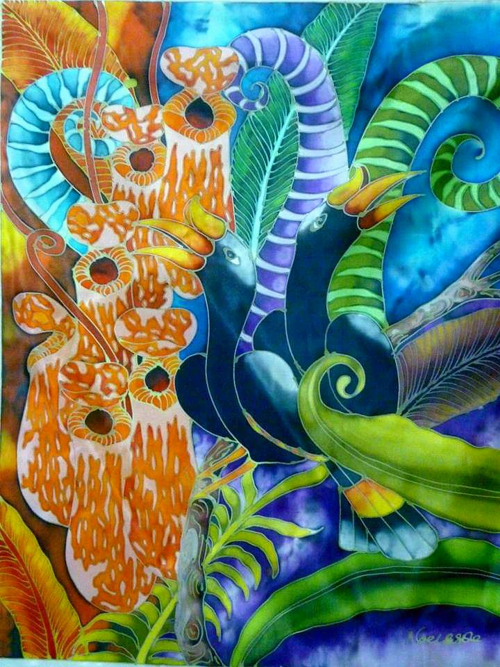 The Hornbill And The Pitchers Plant - Batik Painting