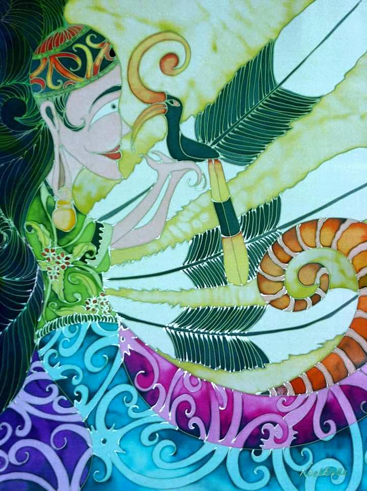 Orang Ulu Lady And The Hornbill - Batik Painting