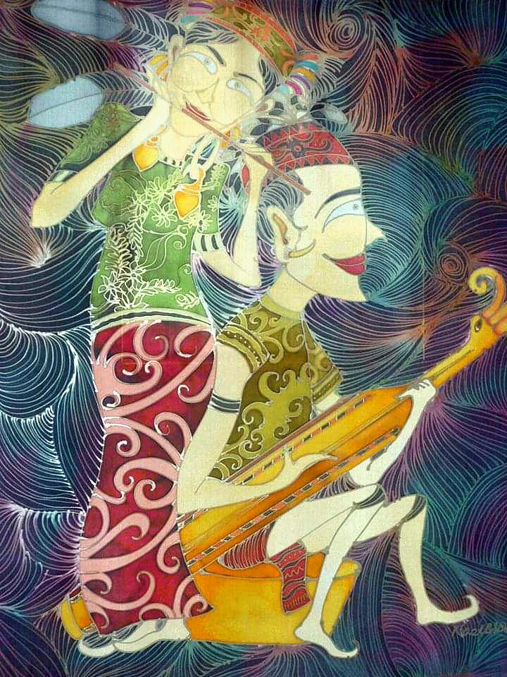 Musical Harmony Orang Ulu Instrumen - Batik Painting