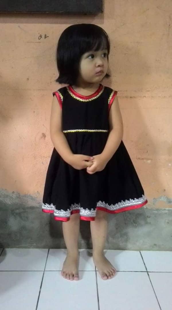 Contemporary Bidayuh costume in dress, for girl 2 years