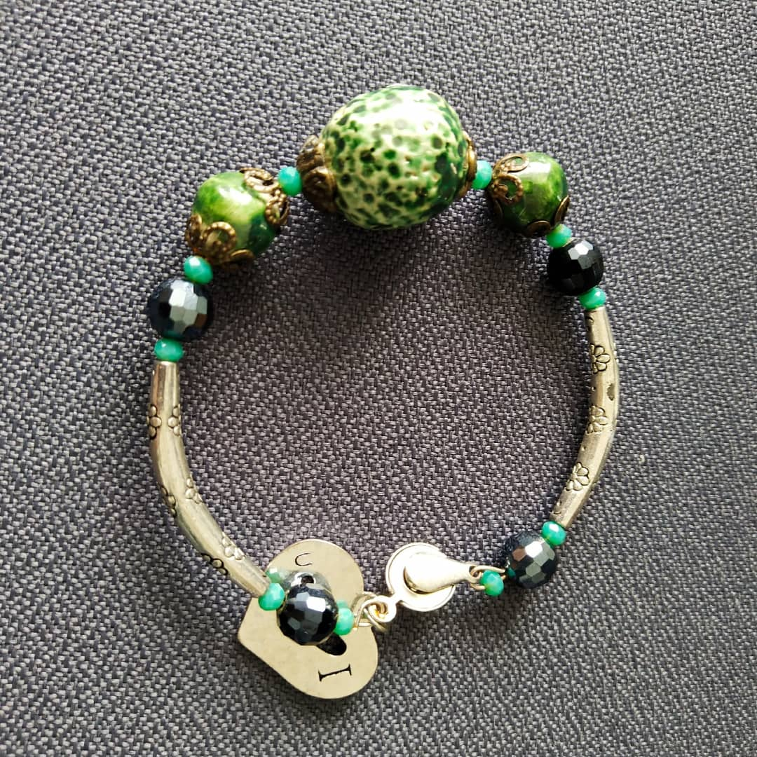 Unique Greenish Ceramic Bracelet