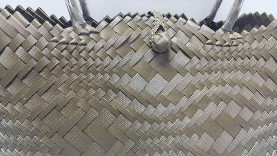 handwoven penan basket-medium(gold)