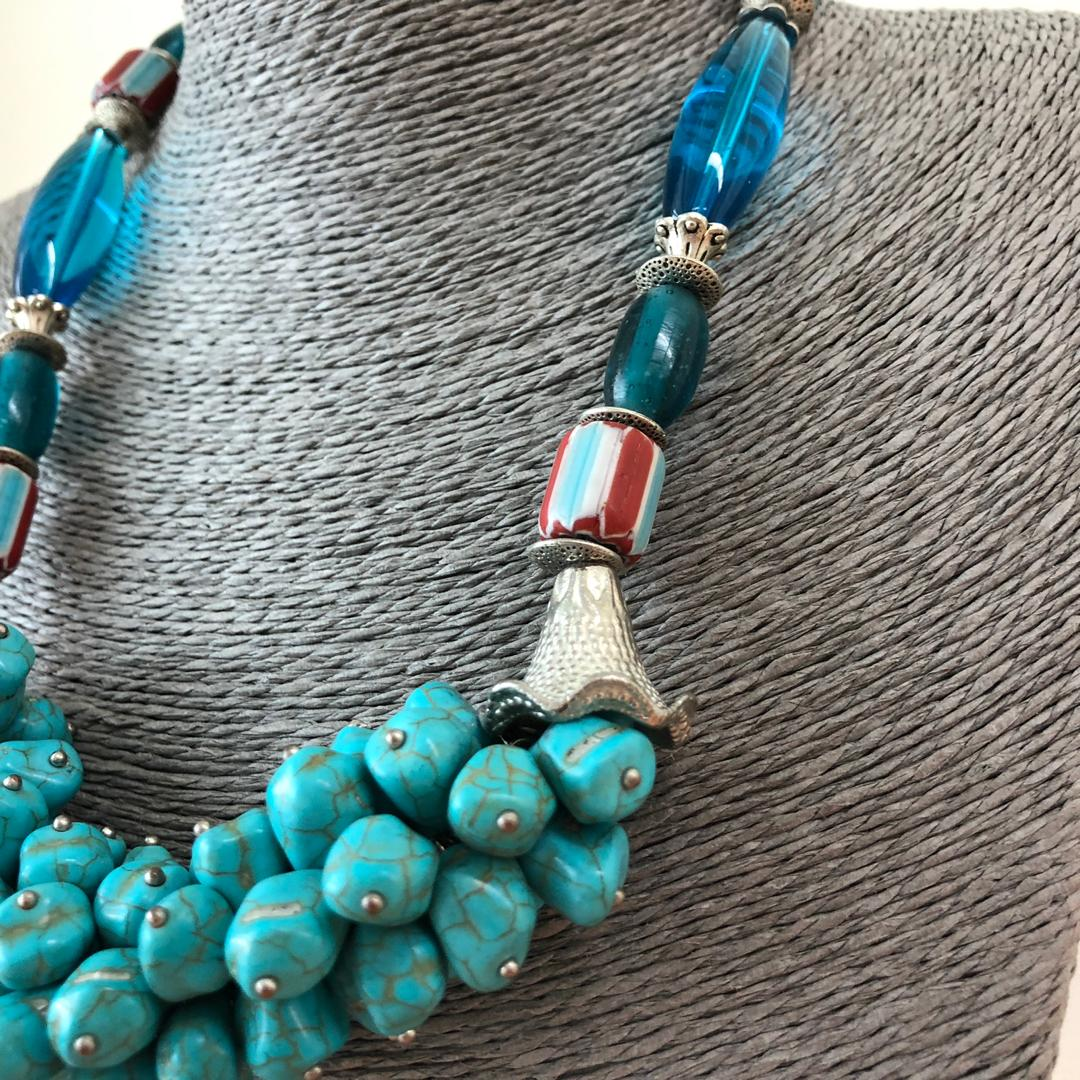 Tarquoise Grapes Necklace Design with Borneo Glass Beads
