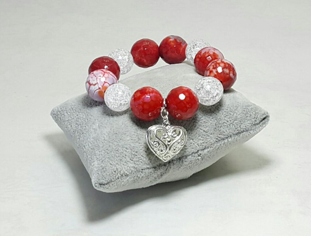 Vermilion Beaded Elastic Bracelet